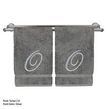 Monogrammed Washcloth Towel,13x13 Inches - Set of 2 - Silver Script - O - $27.44