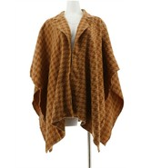 Joan Rivers Houndstooth Ruana Collar Camel Brown Plus NEW A300613 - $41.56