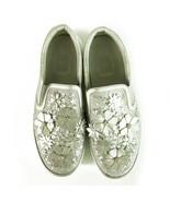 Christian Dior Silver Leather Laser Cut Floral Embellished Mocassins 38 ... - $415.80
