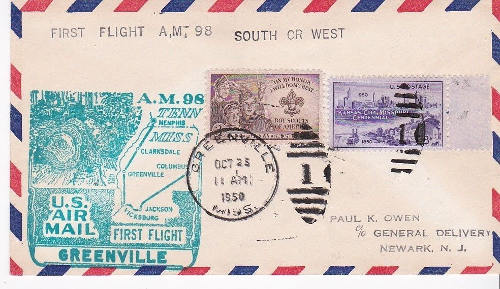 FIRST FLIGHT GREENVILLE, MISS. - JACKSON, MISS. OCTOBER 25, 1950 AM-98
