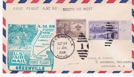 FIRST FLIGHT GREENVILLE, MISS. - JACKSON, MISS. OCTOBER 25, 1950 AM-98 - $1.98