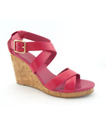 COLE HAAN Size 9 JILLIAN Hot Pink Cork Wedge Heels Sandals Shoes - $59.00