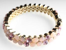 Stella + Ruby Gold Pink Austrian Crystal Magnetic Hinge Bangle Bracelet NWT image 2