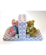 Vintage Lucy & Me Bookends Pink Bunny Bear Roses Girls Room Library Baby... - $23.75