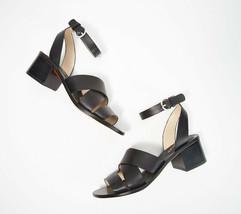 Marc Fisher Leather Block Heeled Sandals - Omela Black 8 M - $59.39