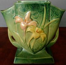Roseville Pottery Vase in Green Zephyr Lily Pattern # 206-7 1940's Nice! - $257.13
