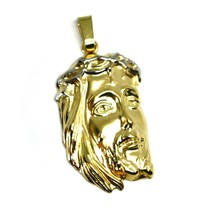 """18K YELLOW GOLD JESUS FACE PENDANT CHARM 4.8cm, 1.9"""" FINELY WORKED ITALY MADE image 1"""