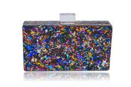 Milanblocks Colorful Confetti Acrylic Box Clutch - $89.99