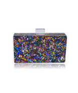 Milanblocks Colorful Confetti Acrylic Box Clutch - ₹6,472.86 INR