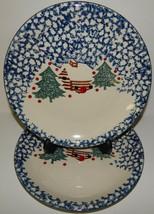 2 Folk Craft Cabin in the Snow Tienshan Stoneware Dinner Plates Blue Spo... - $29.69