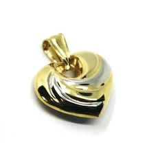 """18K YELLOW WHITE GOLD ROUNDED HEART PENDANT, SPIRAL, 1.4 CM, 0.55"""", TWO TONE image 3"""