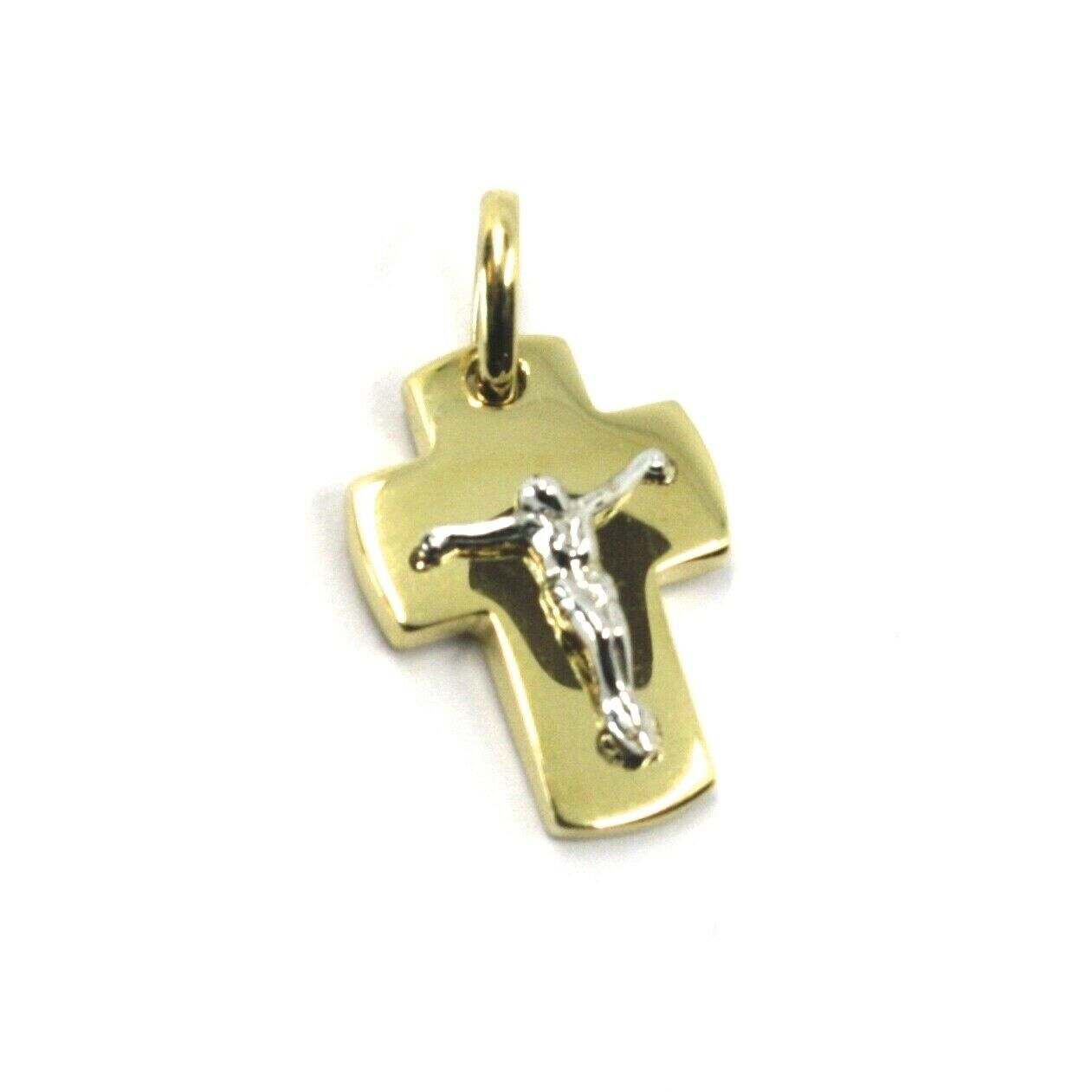 "SOLID 18K YELLOW WHITE GOLD ROUNDED JESUS CROSS PENDANT MINI 0.67"" MADE IN ITALY"