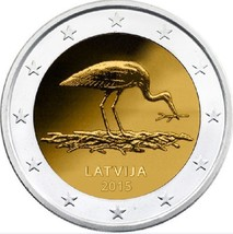 Latvia Stork 2 euro coin 2015, Lettland Storch münze, Lettonie, Letonia,... - $3.50