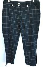 Nike Golf Dry Fit Crop Pants Women 10 M Black Windowpane Flat Front Pocket Btn - $14.84