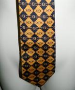 VTG FENDI Blue Yellow Checker Plaid Chain Link Pattern 100% Silk Necktie... - $74.24