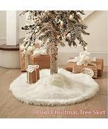 35.5in White Plush Christmas Tree Skirt Stand Apron Ornaments TkGmotor10 - $25.74