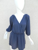 Joie Dress Blue Navy 100% Silk Long Sleeve Mini Dress Sz Small - $46.60