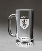 Grace Irish Coat of Arms Glass Beer Mug (Sand Etched) - $22.49