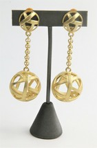80s ESTATE VINTAGE Jewelry DESIGNER STATEMENT RUNWAY CAGED BALL DANGLE E... - $125.00