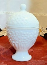 Avon Milk Glass Covered Candy Dish Apothecary Trinket Jar Vintage 60s - $17.00