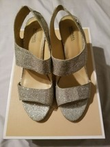 Michael Kors $149 Leila Silver Ankle Strap Heels With Box 8 - $74.44