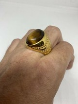 Vintage Tigers Eye Mens Ring Golden Stainless Steel Size 8 - $34.65