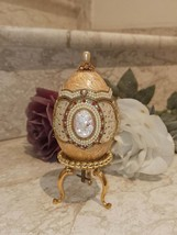 Peach Vintage Faberge style REAL egg ONLYONE made ANTIQUE Trinket Box 24k gold - $499.00