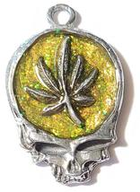 MARIJUANA LEAF SKULL Fine Pewter Pendant Approx. 1-1/2 inches wide image 7