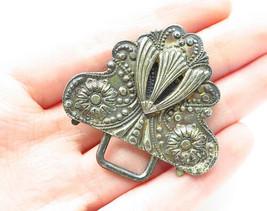 925 Sterling Silver - Vintage Dark Tone Floral Swirl Detail Belt Buckle ... - $41.24