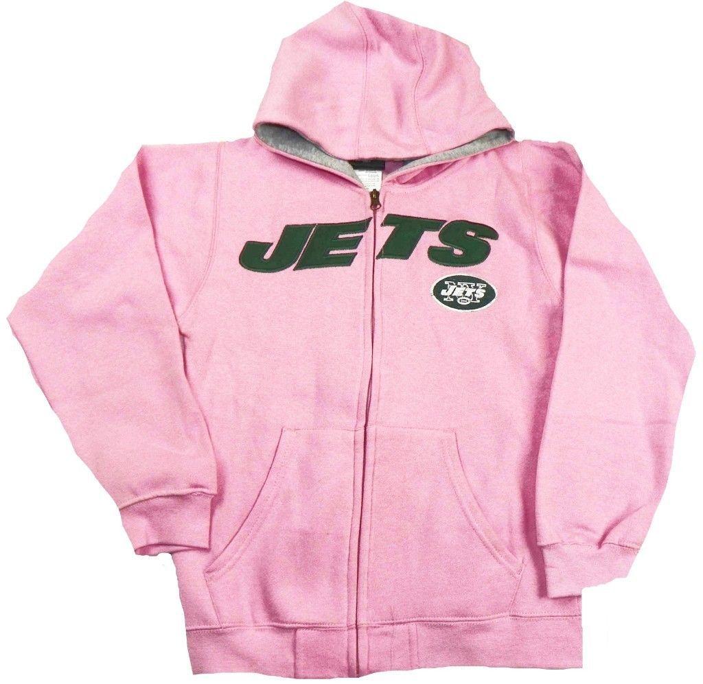 Girl's New York Jets Hoodie Stated Full Zip Hooded Sweatshirt Youth Pink