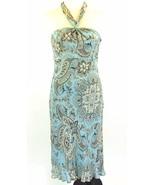ANN TAYLOR Size 4 Petite 4P Blue Brown Paisley Silk Dress Halter - $12.99
