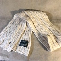 Ralph Lauren 70% Lambswool White Knit Scarf - $19.79