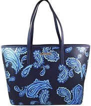 Michael Kors Emry Admiral Blue Paisley Saffiano Leather Large Tote Handbag Shoul