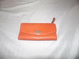 Fossil Orange Leather Wallet Tri Fold Clutch - $34.00