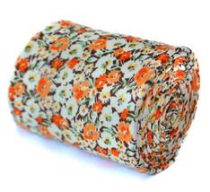 Frederick Thomas oomo cotone arancione marrone Cravatta con a fiori ft2090