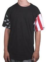 Crooks & Castles Vintage Flag Black 100% Cotton Short Sleeve Cut Sew T-Shirt NWT