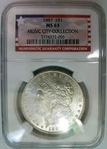 1887 Silver Morgan Dollar NGC MS 63 Music City Collection Graded Hoard P... - $99.99