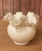 "Fenton Silver Crest Ruffled Milk Glass Stout Bowl - 5"" - $29.02"