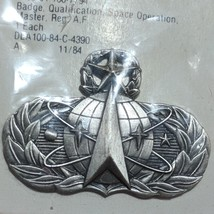 US Air Force Master Space Operations Badge Silver Oxide Finish VTG 1984... - $21.95