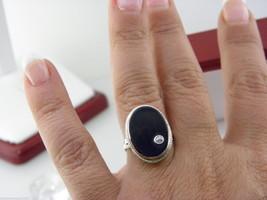 Vintage Ovale Onice Nera Anello Sigillo & 0.05ct Diamante,in 18kt Oro - $381.38