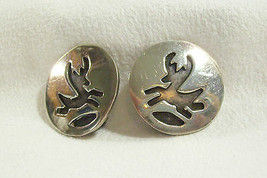 Vintage Leaping Deer SW Cut Away Silver Pewter Round Clip Earrings South... - $16.34