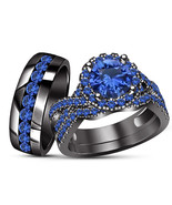 10K Black Gold Finish 925 Silver Trio Rings Set His and Her Rings Blue S... - $164.98