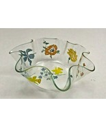 Vintage Mid Century Clear Art Glass Free Hand Formed Bowl Dish Flowers - $9.74