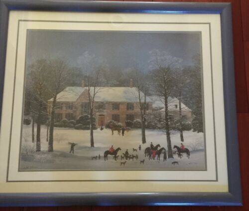 "Vintage Large Framed Matted 37""x 31"" Michel Delacroix Print La Chasse d'Hiver"