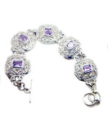 Purple 925 Sterling Silver genuine pleasing Amethyst jewellery Bracelet ... - $83.26