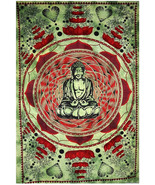 Twin Size Buddha Printed Bed Sheet Tapestry Cotton Handmade Wall Decor T... - $21.98