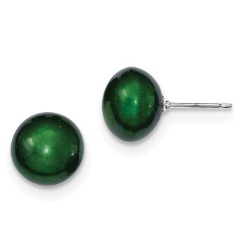 Primary image for Lex & Lu Sterling Silver Green 10-11mm FW Cultured Button Pearl Stud Earring