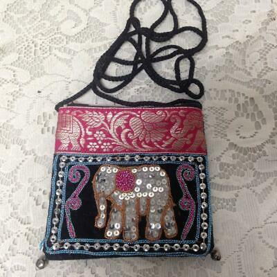 Primary image for Fuchsia Elephant Sequined Coin Purse-Crossbody 5in x 4.5in