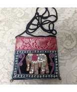 Fuchsia Elephant Sequined Coin Purse-Crossbody 5in x 4.5in - $14.20