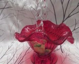 "FENTON ART GLASS 2006 ""GILDED HARVEST"" ON RUBY  BASKET SIGNED FRANCES BURTON"